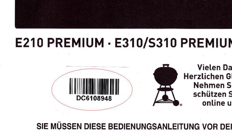 Seriennumer Weber Bedienungsanleitung