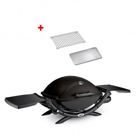Offline Weber Gasgrill Q 2200, Blackline mit Hitzeschild und Bratenrost