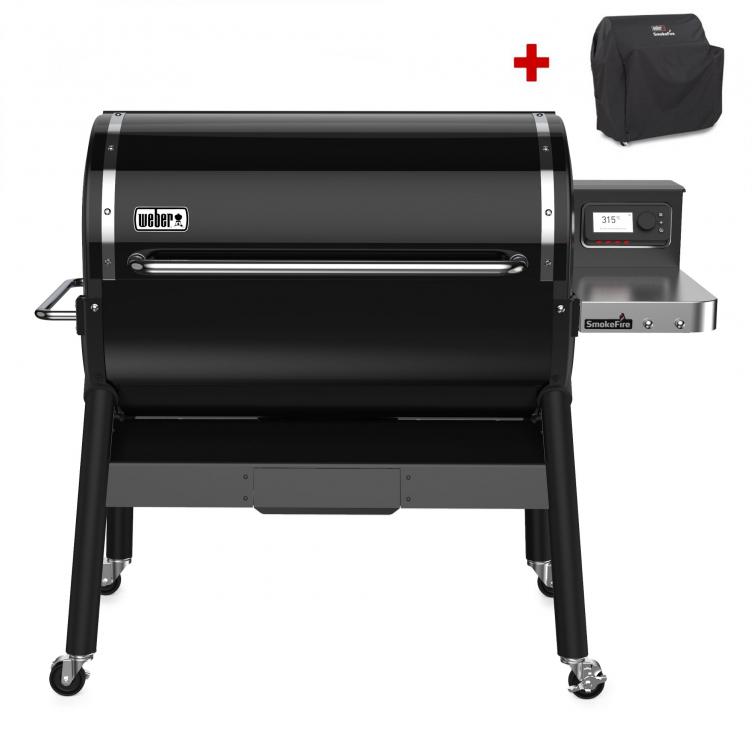 Weber SmokeFire EX6 Holzpelletgrill GBS, Black + inklusive Abdeckhaube